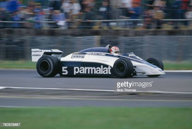 Brazilian racing driver Nelson Piquet drives the Parmalat Racing Team Brabham BT50 BMW S4 test car during practice for the 1981 British Grand Prix at...