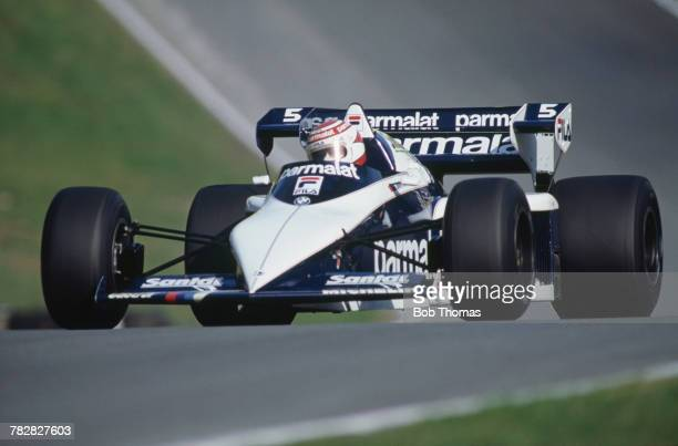 Brazilian racing driver Nelson Piquet drives the Parmalat Racing Team Fila Sport Brabham BT52 BMW S4t to finish in first place to win the 1983...