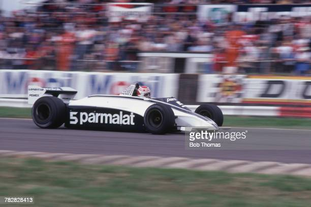 Brazilian racing driver Nelson Piquet drives the Parmalat Racing Team Brabham BT49C Cosworth V8 in the 1981 British Grand Prix at Silverstone Circuit...