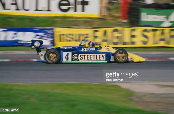 Brazilian racing driver Roberto Moreno drives the Ralt RT3Alfa Romeo Novamotor of Ivens Lumar Racing in the 1982 Marlboro British Formula Three...