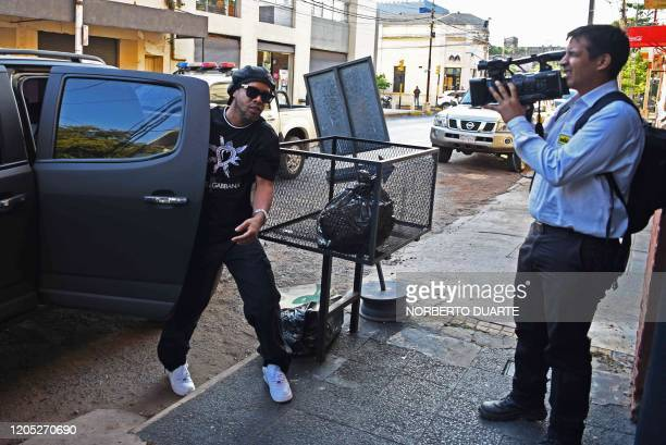 Brazilian retired football player Ronaldinho arrives to Asuncion's Prosecution to declare after his irregular entry to the country in Asuncion...