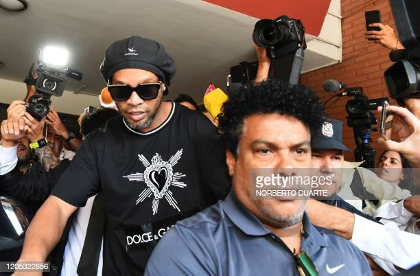 Brazilian retired football player Ronaldinho leaves Asuncion's Prosecution after declaring about his irregular entry to the country in Asuncion...