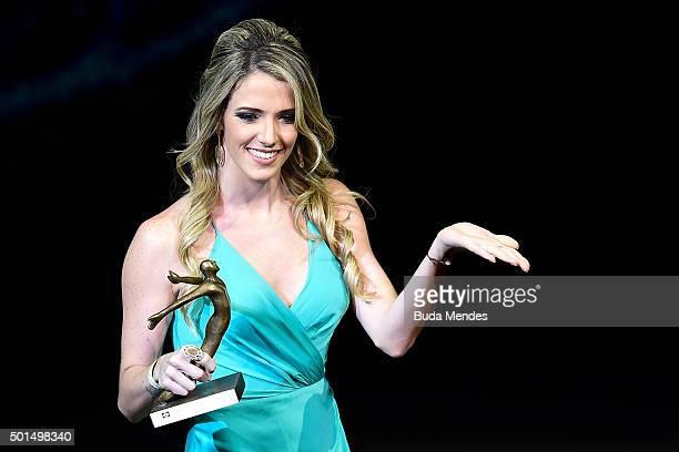 Brazilian Rhythmic Gymnastics competitor Natalia Gaudio is awarded during the ceremony of Brazil's Olympics award Premio Brasil Olimpico at Bradesco...
