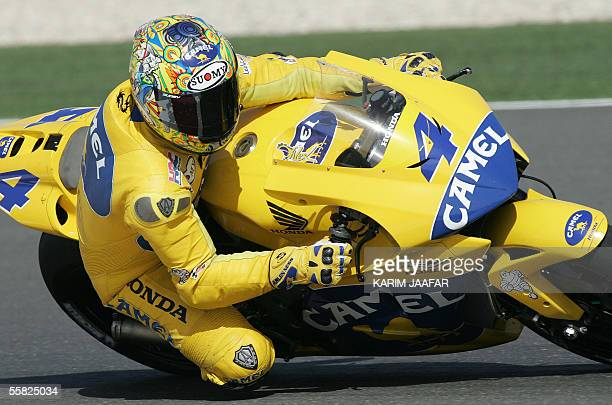 Brazilian rider Alex Barros of Honda speeds during a free practice session of Qatar Grand Prix World Championships in Doha 29 September 2005 Qatar...