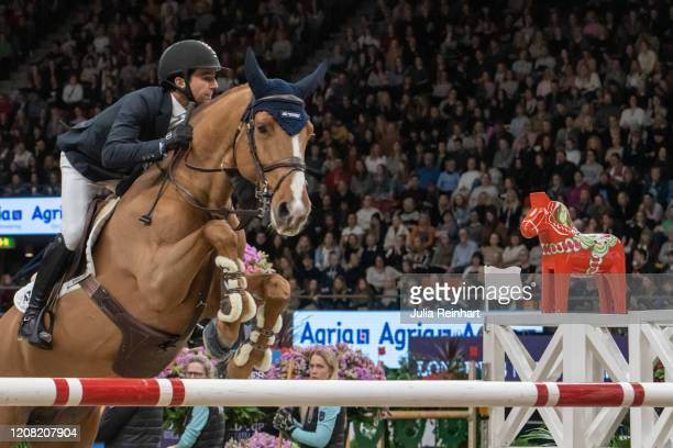 Brazilian rider Marlon Modolo Zanotelli on Icarus competes in the FEI World Cup Jumping event during the Gothenburg Horse Show at Scandinavium Arena...