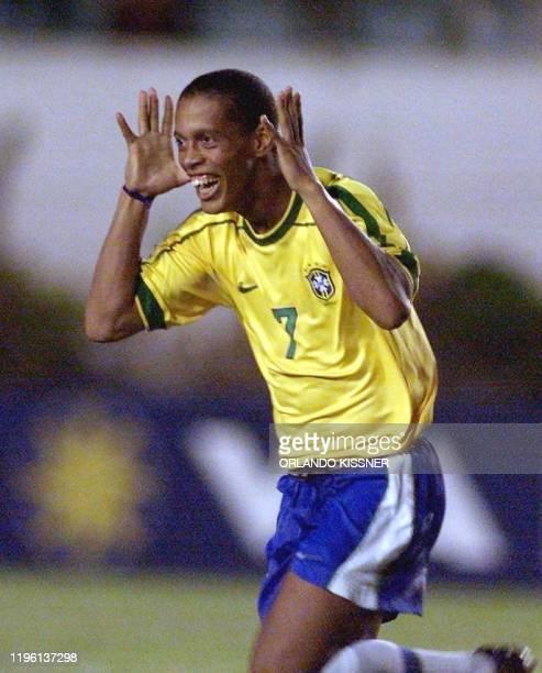 Brazilian Ronaldinho Gaucho celebrates the second goal against Chile 04 February2000 in Londrina Brazil Brazil won over Chile 31 El brasileno...