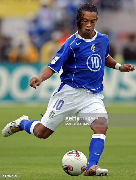 Brazilian Ronaldinho kicks the ball in a match against Ecuador held at the Olimpico Atahualpa stadium in Quito Ecuador 17 November 2004 for the FIFA...