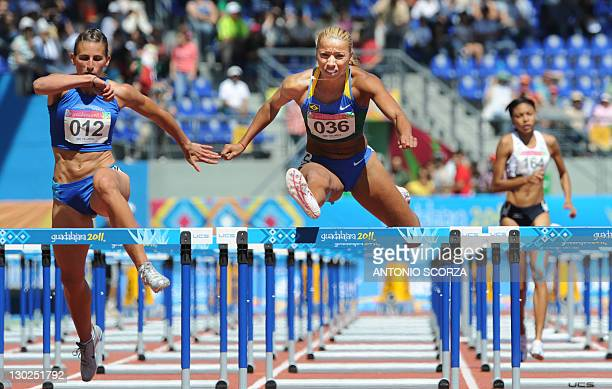 Brazilian runner Lucimara da Silva jumps to win the Women's 110m Hurdles Heptathlon followed by Argentina's Agustina Zerboni and Virgin Islands'...