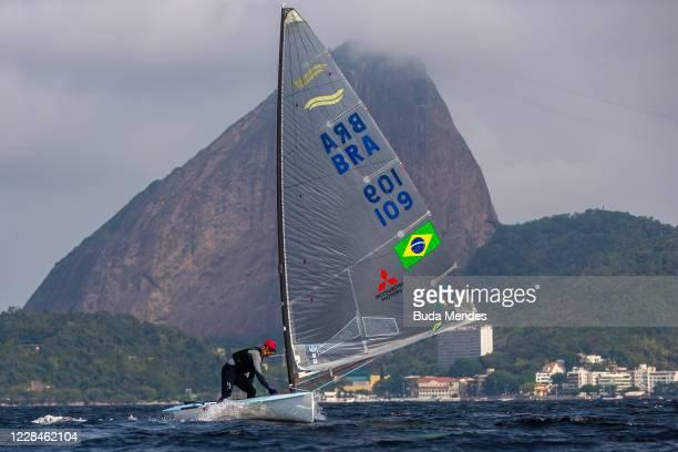 Brazilian sailing athlete Jorge Joao Zarif sails during a training session at Marina da Gloria amidst the coronavirus pandemic on September 11, 2020...