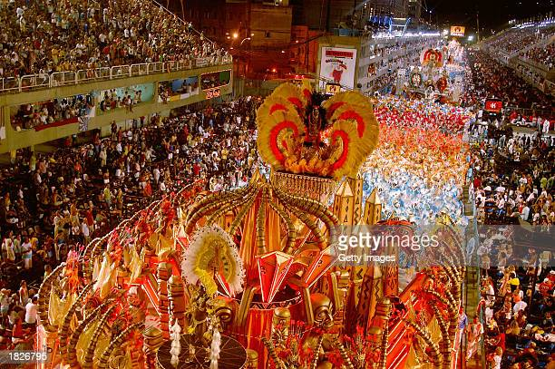Brazilian samba school floats move past the crowd during the annual carnival parade March 2 2003 in Rio de Janeiro Brazil The 14 samba schools are...