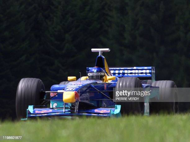 Brazilian SauberPetronas driver Pedro Diniz steers his car on the racetrack during the first free practice session in Spielberg 23 July two days...
