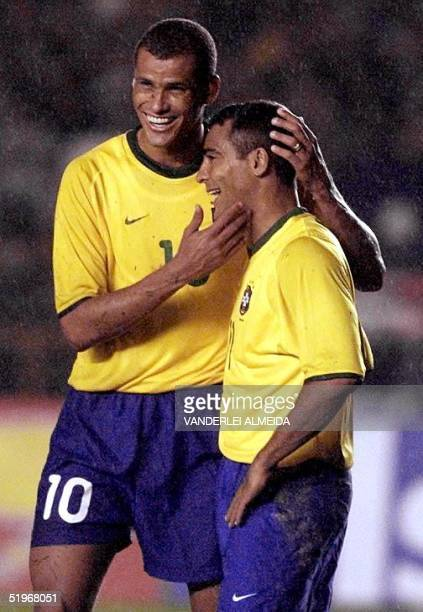 Brazilian select player Rivaldo celebrates Romario's third goal aginst Bolivia 03 September 2000 during JapanKorea 2002 World Cup qualification game...