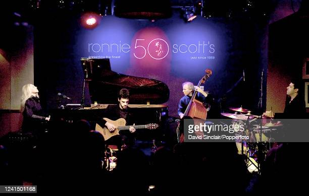 Brazilian singer and pianist Elaine Elias performs live on stage with her quartet at Ronnie Scott's Jazz Club in Soho London on 21st February 2011