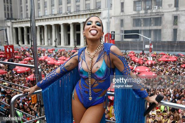 Brazilian singer Anitta during the Bloco da Anitta in downtown Rio on February 29 2020 in Rio de Janeiro Brazil