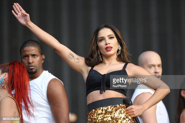 Brazilian singer Anitta performs at the Rock in Rio Lisboa 2018 music festival in Lisbon Portugal on June 24 2018