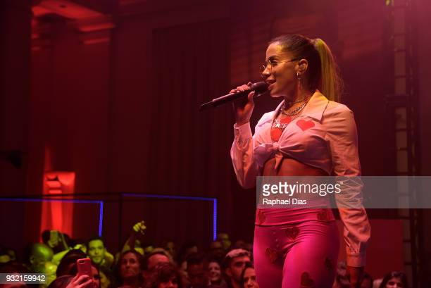 Brazilian singer Anitta performs during the new Netflix series premieree O Mecanismo at the Belmond Copacabana Palace Hotel on March 14 2018 in Rio...