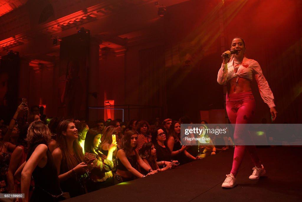 Brazilian singer Anitta performs during the new Netflix
