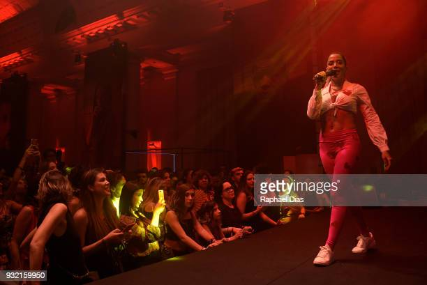 Brazilian singer Anitta performs during the new Netflix series premiere O Mecanismo at the Belmond Copacabana Palace Hotel on March 14 2018 in Rio de...