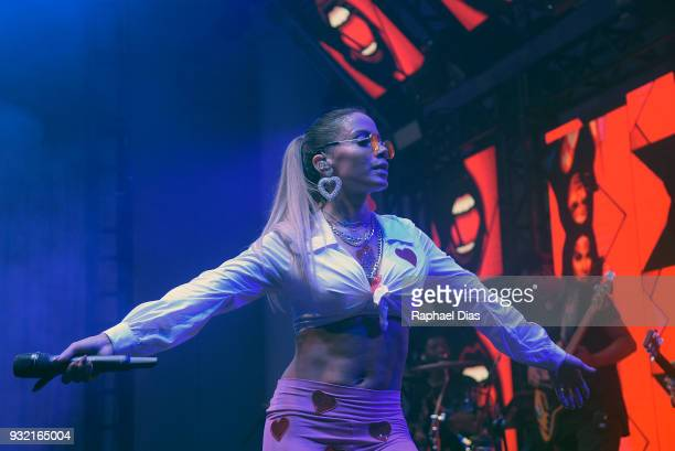 Brazilian singer Anitta performs during the new Netflix series premier O Mecanismo at the Belmond Copacabana Palace Hotel on March 14 2018 in Rio de...