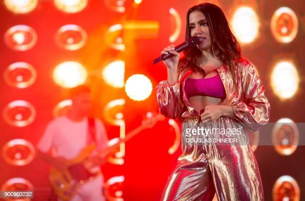 Brazilian singer Anitta real name Larissa de Macedo Machado performs during the New Year's Eve Concert at Copacabana beach in Rio de Janeiro on...