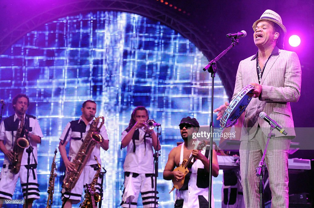 Brazilian singer Carlinhos Brown performs during the ninth edition of the Mawazine world music festival in Rabat on May 24, 2010. Some 1,500 artists from 50 countries are participating in the event that ends on May 29.