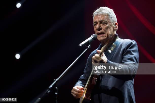 Brazilian singer Chico Buarque performs during the rehearsal of his new tour Caravanas at Vivo Rio in Rio de Janeiro Brazil on January 03 2018