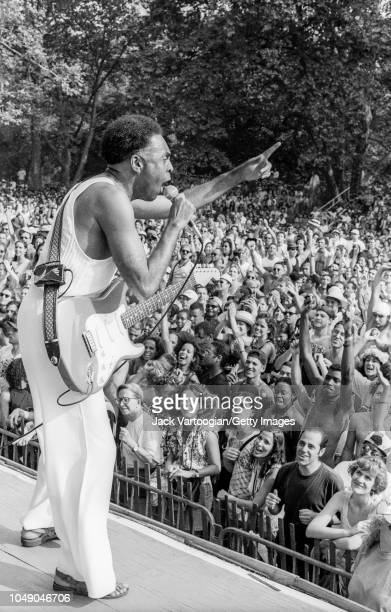 Brazilian singer composer and politician Gilberto Gil performs at a concert at Central Park SummerStage New York New York June 18 1995