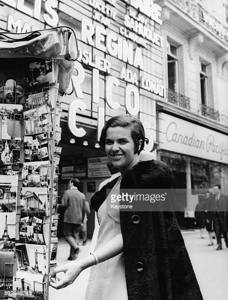 Brazilian singer Elis Regina outside the Paris Olympia Music Hall in the 9th arrondissement of Paris where she will be performing France 31st October...