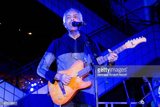 Brazilian Singer Gilberto Gil performs at 'Le Bresil Rive Gauche' Exhibition opening party held at Le Bon Marche on April 22 2013 in Paris France