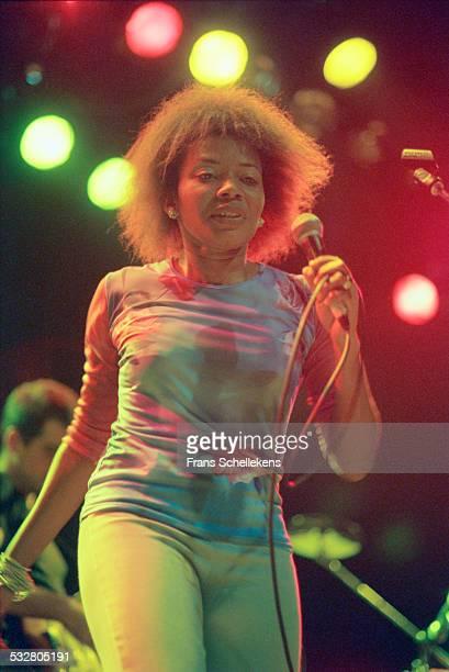 Brazilian singer Margareth Menezes, performs on June 10th 1999 at the Melkweg in Amsterdam, Netherlands.