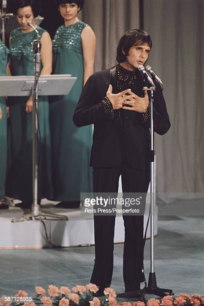 Brazilian singer Roberto Carlos performs live on stage at the Sanremo Music Festival in Sanremo Casino Italy in 1968