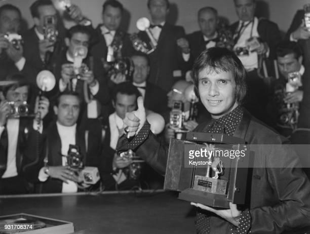 Brazilian singer Roberto Carlos with his award at the 18th Festival della Canzone Italiana or Sanremo Music Festival in Sanremo Italy 1968