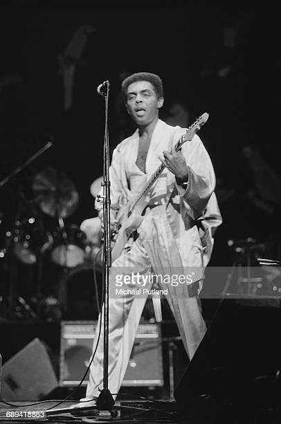Brazilian singer songwriter and guitarist Gilberto Gil performing on stage 1986