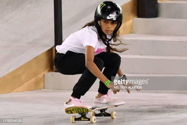 Brazilian skateboarder Rayssa Leal competes in the Street League Skateboarding world championship women's final in Sao Paulo Brazil on September 22...