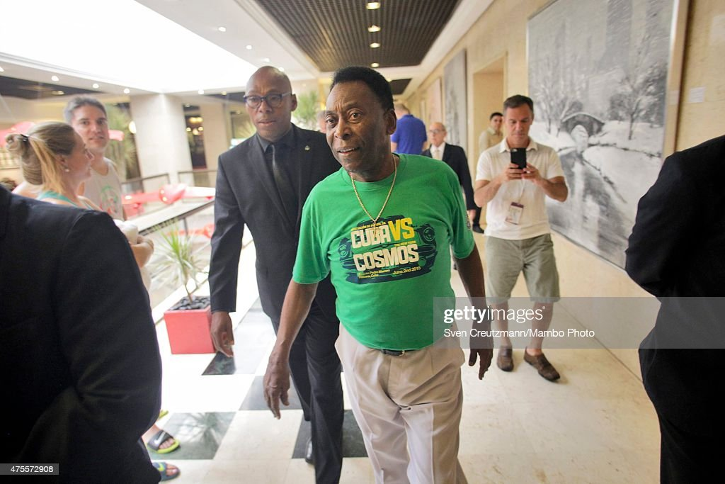 Brazilian soccer legend Pele arrives for a press conference in the Melia Cohiba hotel, a day before a friendly soccer match between Cuba and New York Cosmos, on June 1, 2015 in Havana, Cuba. The Cosmos will play against Cuba on June 2, 2015 and is the first professional sports team to visit Cuba since 1999, when the Baltimore Orioles played in Cuba.