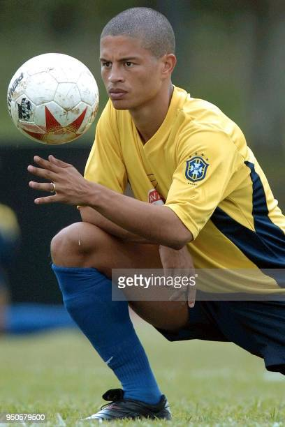 Brazilian soccer player Alex also player of the Italian team Parma plays with a soccer ball 21 July 2001 during a training session in Cali Colombia...