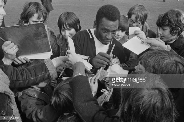 Brazilian soccer player Pele meets young fans at Craven Cottage stadium home ground of Fulham FC London UK 12th March 1973
