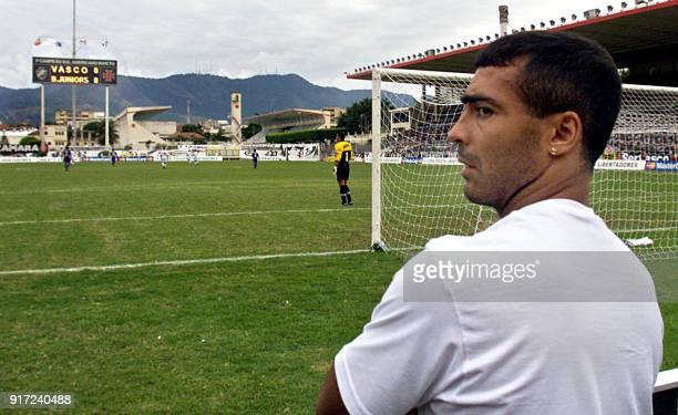 Brazilian soccer player Romario of Vasco de Gama watches his team from the sidelines in a qualifying match for the quarterfinals of the Copa...