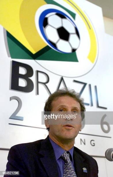 Brazilian soccer star Arthur Antunes Coimbra known as Zico speaks to journalists during a meeting with the press 08 May 2000 in Rio de Janeiro Brazil...