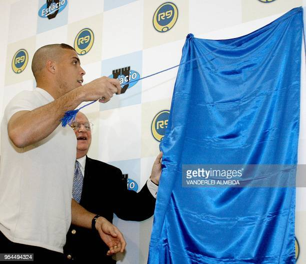 Brazilian soccer star Ronaldo Nazario along with the ex OAS embassador Joao Baena Soares inaugurate the new Physiotherapy Faculty R9 at the...