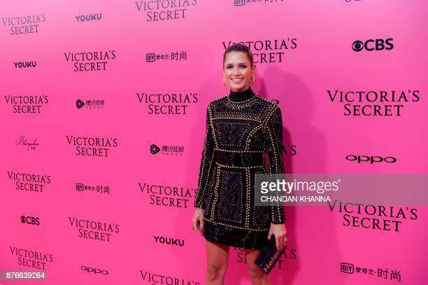 Brazilian socialite and fashion blogger Helena Bordon poses on the 'Pink Carpet' ahead of the start of the 2017 Victoria's Secret Fashion Show in...