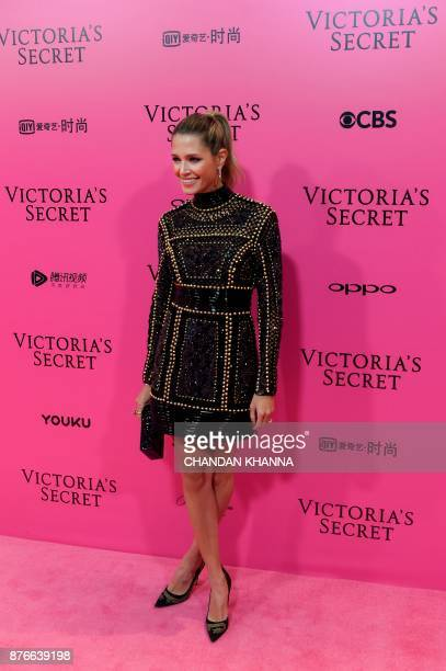 Brazilian socialite Helena Bordon poses on the 'Pink Carpet' ahead of the start of the 2017 Victoria's Secret Fashion Show in Shanghai on November 20...