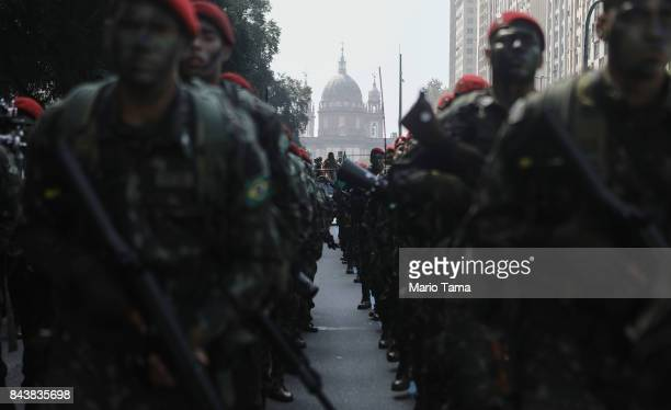 Brazilian soldiers march during the annual Independence Day military parade on September 7 2017 in Rio de Janeiro Brazil Rio served as the seat of...