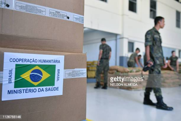 Brazilian soldiers organize humanitarian aid for Venezuela at an hagar of Ala 7 air base in Boa Vista Roraima state Brazil in the border with...