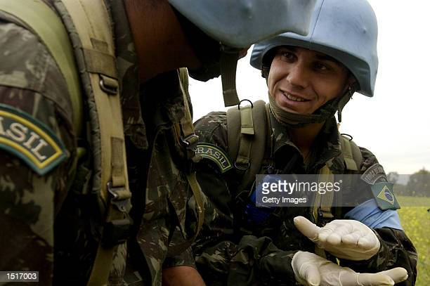 Brazilian soldiers participate in a mine sweeping exercise October 21 2002 at Fuerte Lautaro Santiago Chile Thirteen hundred military and civilian...