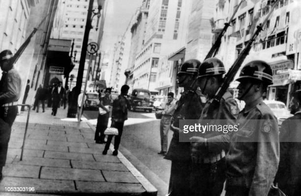 Brazilian soldiers patrol the streets of Sao Paulo on April 03 1964 after the military putsch that led to the overthrow of President Joao Goulart by...