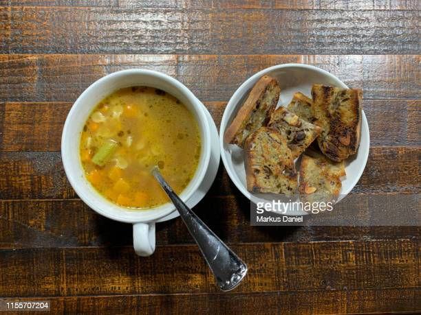 """brazilian soup with vegetables, pasta and toasted bread - """"markus daniel"""" stock pictures, royalty-free photos & images"""