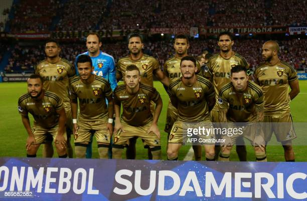 Brazilian Sport Recife team players pose for the picture before the start their Copa Sudamericana quarterfinals second leg football match against...