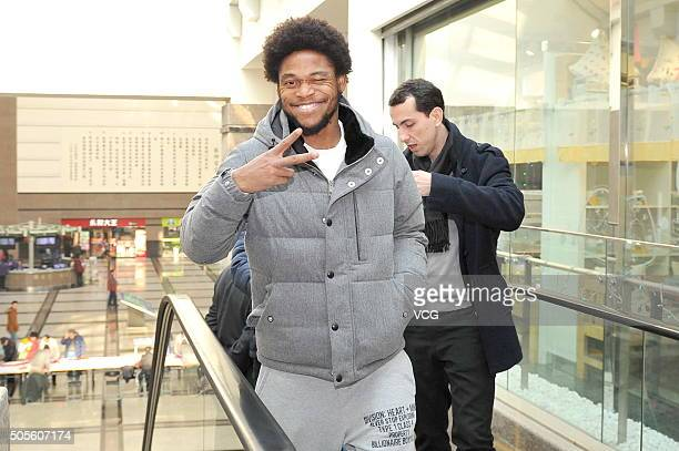 Brazilian striker Luiz Adriano arrives at a hospital for his medical checkup on January 19 2016 in Nanjing China Luiz Adriano will sign a contract...