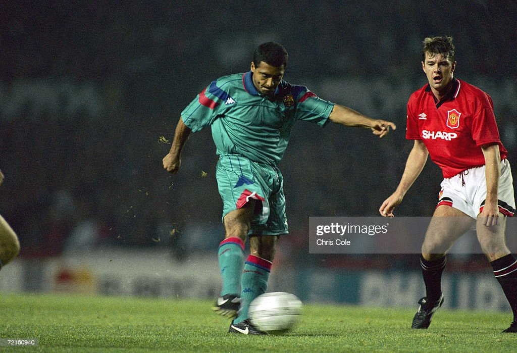 Brazilian striker Rom?rio de Souza Faria, known as Romario, playing for Spanish club FC Barcelona in a Champions League group stage match against Manchester United at Old Trafford, October 1994.